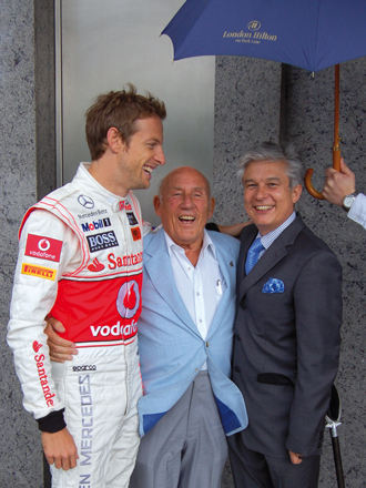 Racing legend Sir Stirling Moss lives just around the corner of the hotel. Here he is seen with Michael Shepherd, general manager of the hotel, and Jenson Button. The former London Tavern at London Hilton served a selection for 'the friends of the Earl of Sandwich' including a turkey and pastrami sandwich called 'The Stirling Moss'.